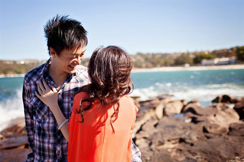Nav A Photography, (nava photography) Sydney couples wedding portrait photographer, sunshine happy, warm, flare, pre-wedding, Blamoral Beach, dog, family